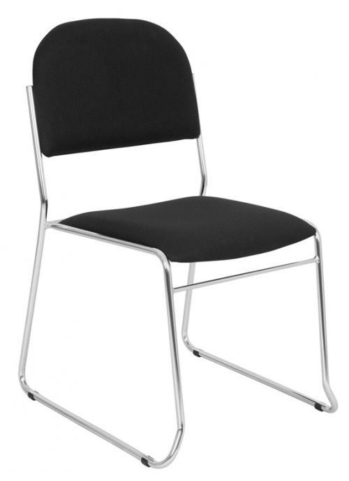 Conference Chair With Chrome Skid Base Frame, Havana YS009 Black Fabric