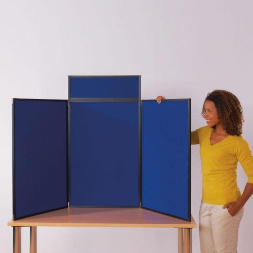 BusyFold Light Folding Tabletop Display - 3 Panel Portrait - Blue/Grey - Includes Header & Carry Bag
