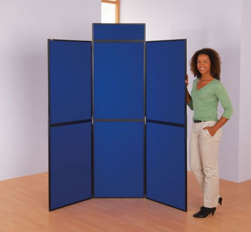 BusyFold Light Folding Display - 6 Panels - 1800 x 1800mm - Blue/Grey - Includes Header & Carry Bag