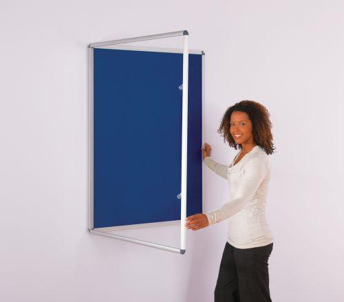 Metroplan Tamperproof Lockable Felt Noticeboard - 1200 x 1200mm (HxW) - Blue