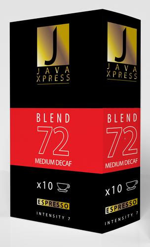 Java Xpress Nespresso Compatible Coffee Capsules Blend 72 Pack of 100 (Pack of 10 x 10 Capsules)