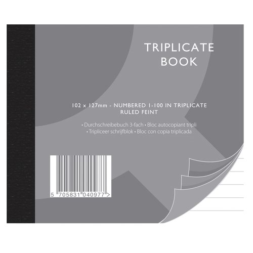 Value Triplicate Book 102x127mm