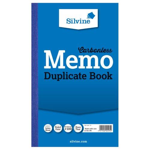 Silvine Duplicate Book NCR 210x127mm Memo 701