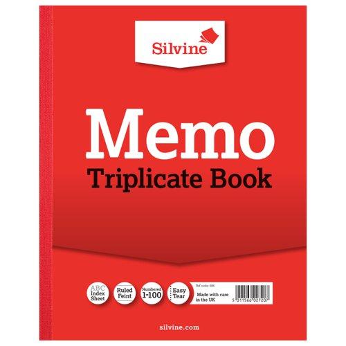 Silvine Triplicate Book 254x203mm Memo 606