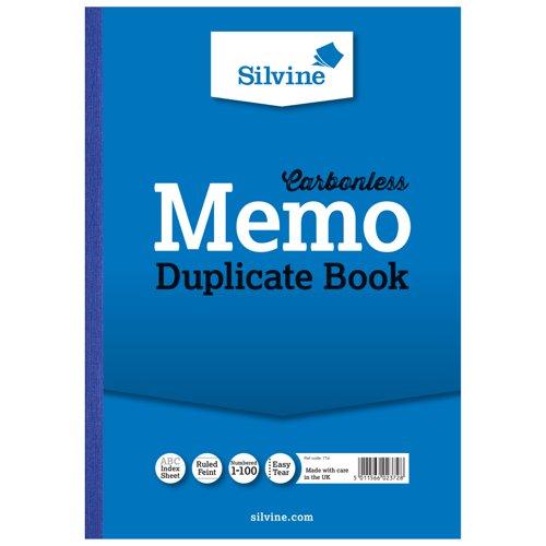 Silvine Duplicate Book NCR 298x210mm A4 Memo 714