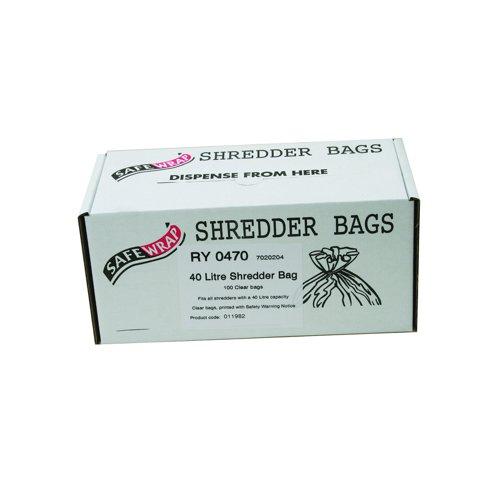 SafeWrap Shredder Bags 40 Litre Clear (100) RY0470