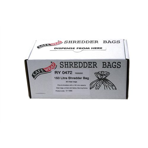 SafeWrap Shredder Bags 150 Litre Clear (50) RY0472