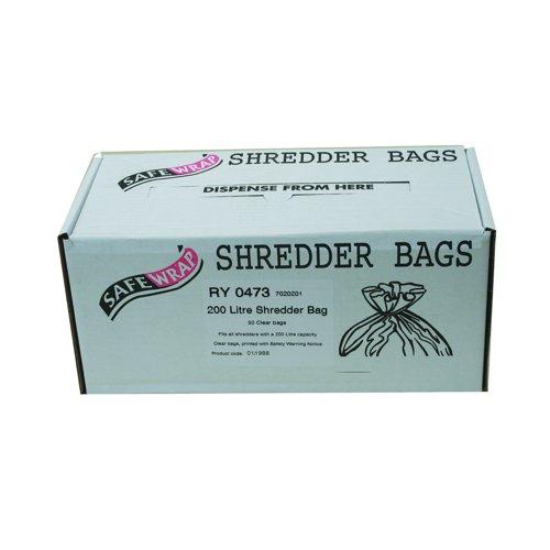 SafeWrap Shredder Bags 200 Litre Clear (50) RY0473