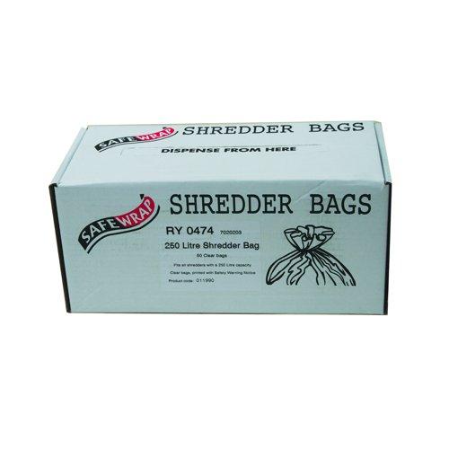 SafeWrap Shredder Bags 250 Litre Clear (50) RY0474