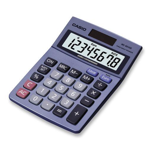 Casio Euro 8 Digit Desktop Calculator MS-80VERII