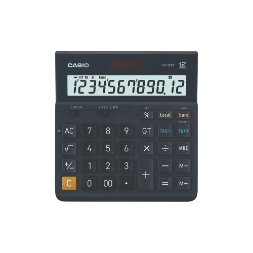 Casio Large Desk Calculator 12 Digit Black  DH-12ET-WK-UP