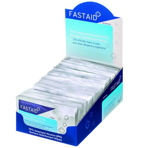 FastAid 70 Percent IPA Surface Disinfectant Sachet Wipes (8x50) 5029