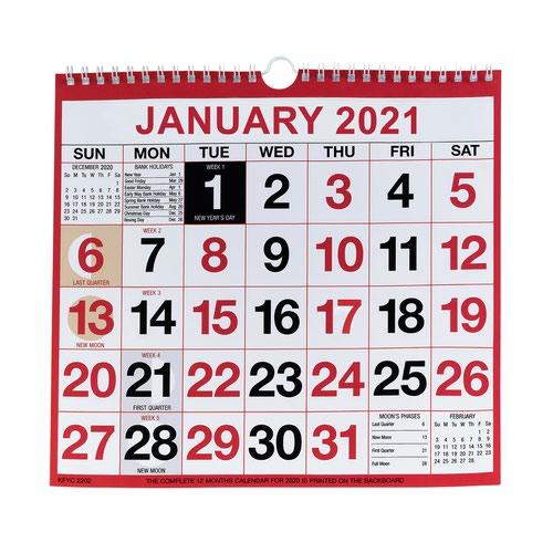 Value 2021 Wirebound Calendar Month to View