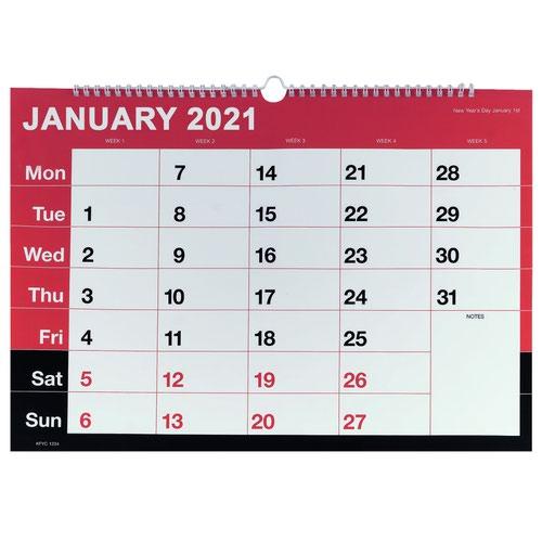 Value 2021 Wall Calendar A3