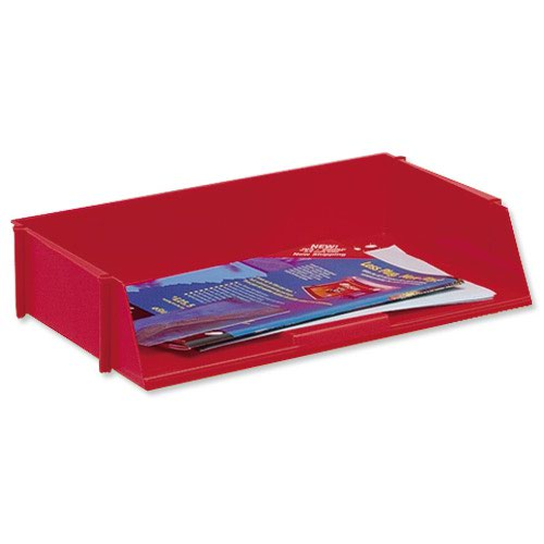 Value Wide Entry Letter Tray Red