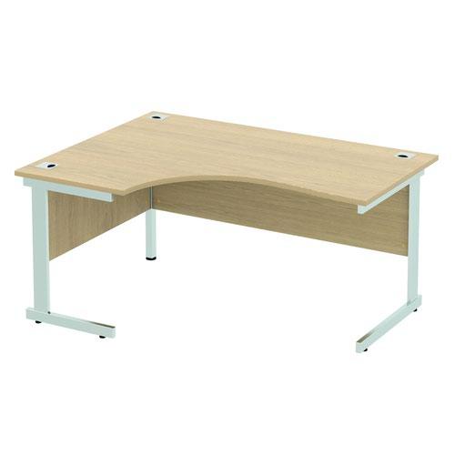 Baseline Alpha Standard Crescent Desk LH 1600x1200x740mm Oak ALC16/LH/BO
