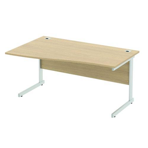 Baseline Alpha Standard Wave Desk LH 1600x800-1000x740mm Oak ALW16/8/RH/BO