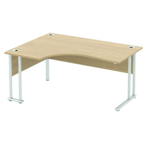 Baseline Alpha Premium Crescent Desk LH 1800x1200x740mm Oak ALPC18/LH/BO