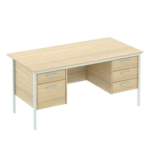 Baseline Norton Rectangular Double Pedestal Desk 1800x750x740mm Walnut DP72/BWA