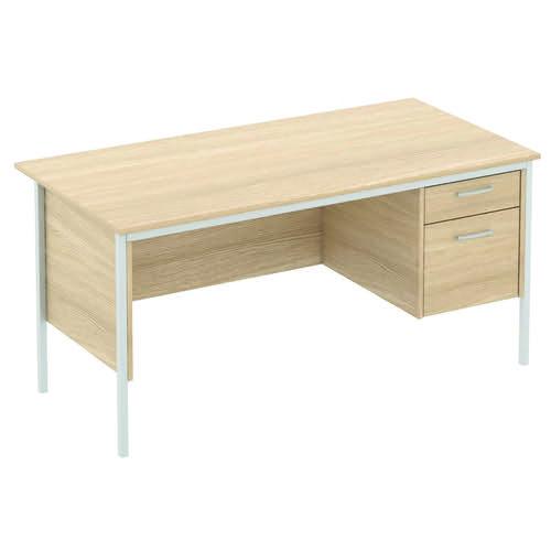 Baseline Norton Rectangular Desk 2 Drawer Pedestal 1500x750x740mm Oak SPF60/BO