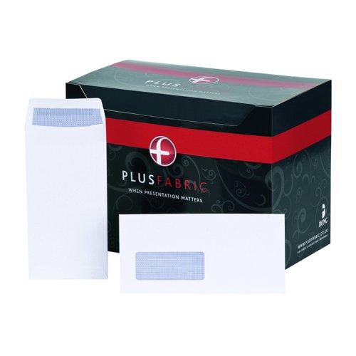 Plus Fabric Wallet Envelopes Self-Seal Window DL White 120gsm (500) J22370