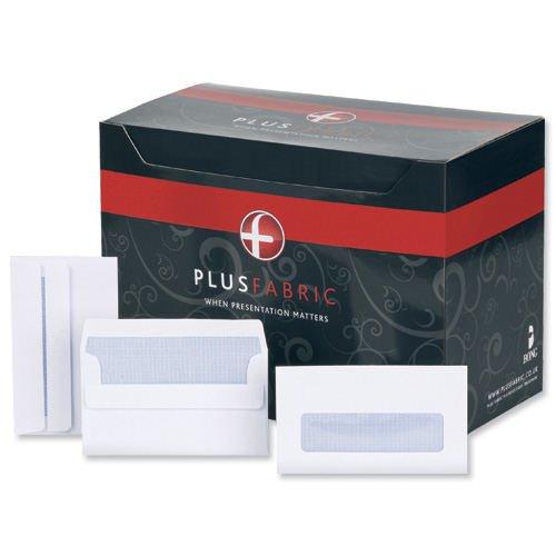 Plus Fabric Wallet Envelopes Self-Seal Window 89x152mm White 120gsm (500) L22070