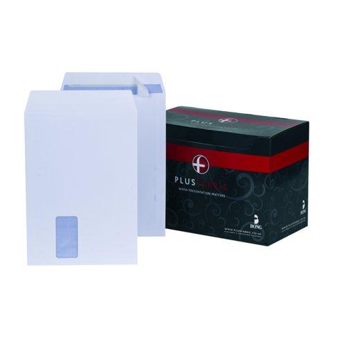 Plus Fabric Pocket Envelopes Peel & Seal Window C4 White 120gsm (250) F28749
