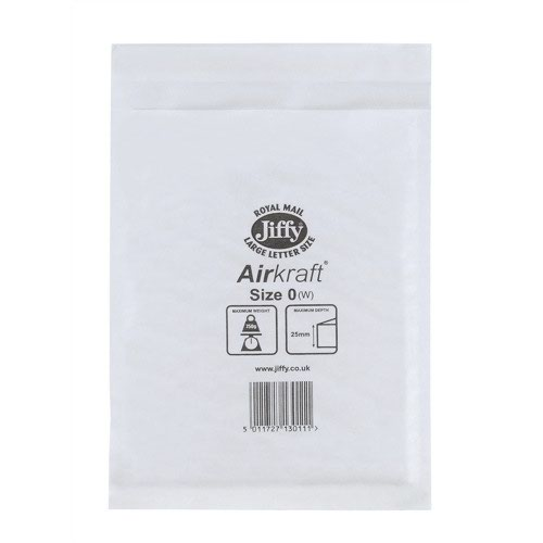 Jiffy Airkraft Bubble Lined Bag Size 0 140x145mm White (100) JL-0