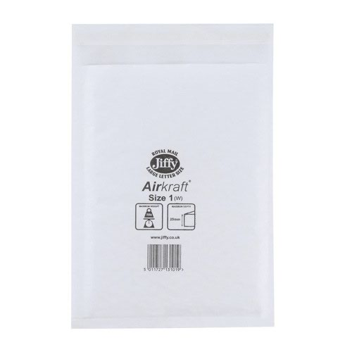 Jiffy Airkraft Bubble Lined Bag Size 1 170x245mm White (10) JL-AMP-1-10
