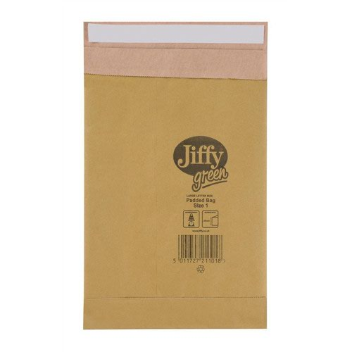 Jiffy Green Mailing Bag Size 1 164x285mm Gold (100) JPB-1