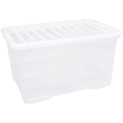 Value Plastic Stackable Storage Box 60 Litre Clear