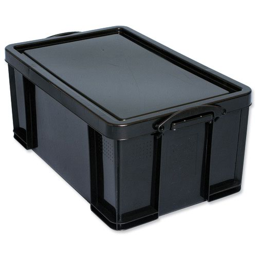 Really Useful Recycled Storage Box 64litre 715x435x300mm Black 64L