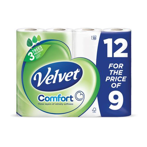 Triple Velvet Toilet Tissue White (12)