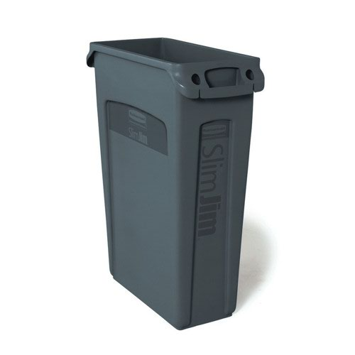 Rubbermaid Slim Jim Recycling System Venting Container Grey FG354060GRAY