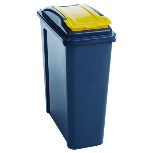 Recycling Bin With Lid 25 Litre Yellow 384283