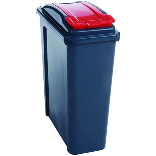 Recycling Bin With Lid 25 Litre Red 384285