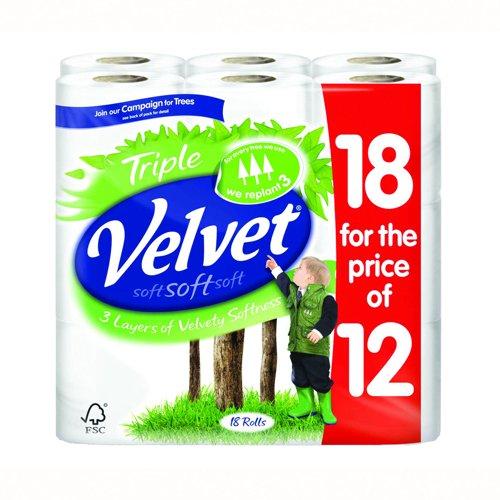 Triple Velvet Toilet Tissue White (18) 1102048