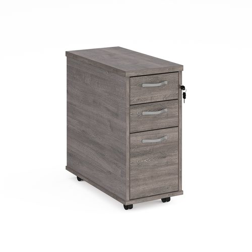 Tall Narrow Mobile Pedestal 3 Drawer Grey Oak TNMPGO