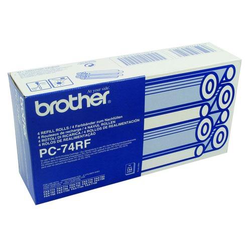 Brother Fax Ribbon Black (4) PC74RF