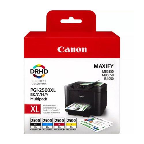 Canon No.2500 Inkjet Cartridge High Capacity Black/Cyan/Magenta/Yellow Value Pack PGI2500XL 9254B004