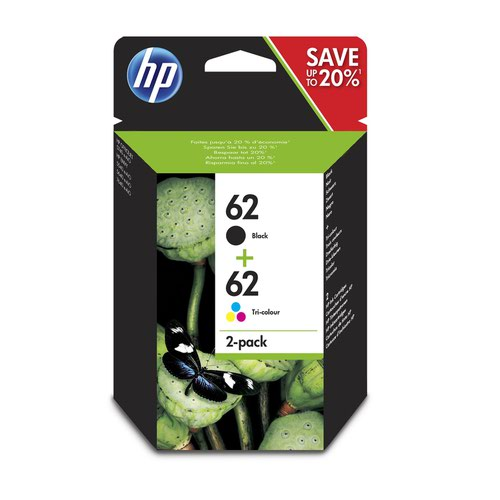 HP No.62 Inkjet Cartridge Black/Colour Twinpack N9J71AE