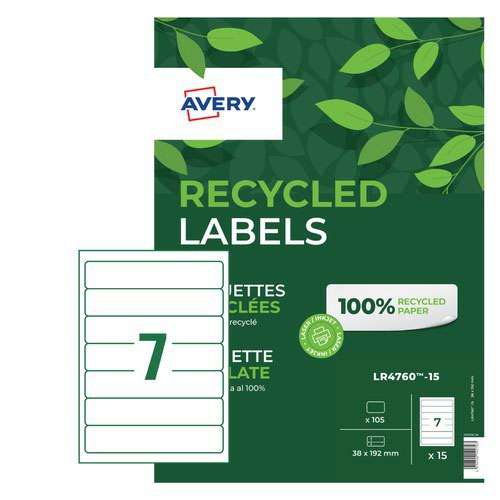 Avery Recycled Laser Filing Label 192x38mm (15) LR4760-15