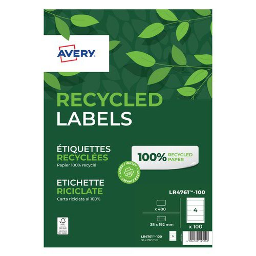 Avery Recycled Laser Filing Label 192x61mm (15) LR4761-15