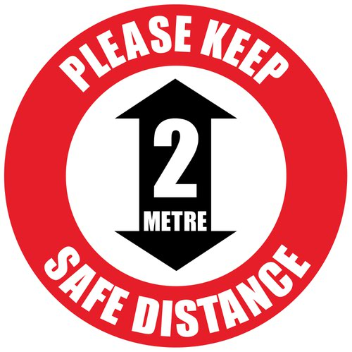 Beaverswood Permanent Social Distance Floor Marker Please Keep A 2m Safe Distance SDM03