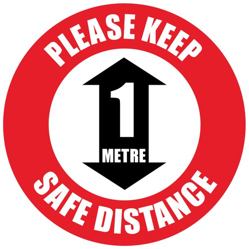 Beaverswood Semi-Permanent Social Distance Floor Marker Please Keep 1m Safe Distance RSDM11