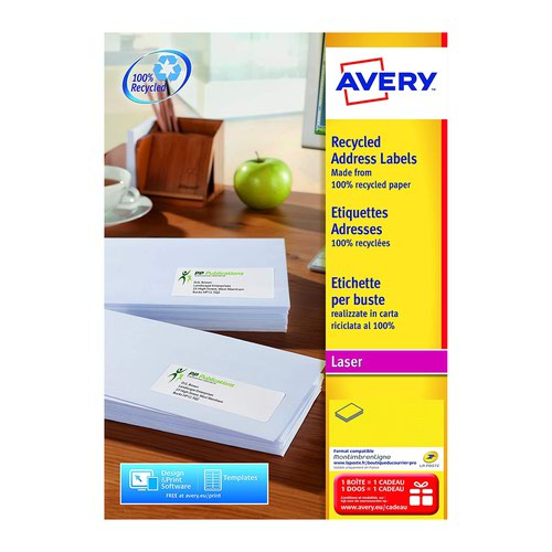 Avery QuickPEEL Recycled Labels 99.1x38.1mm White (15) LR7163-15