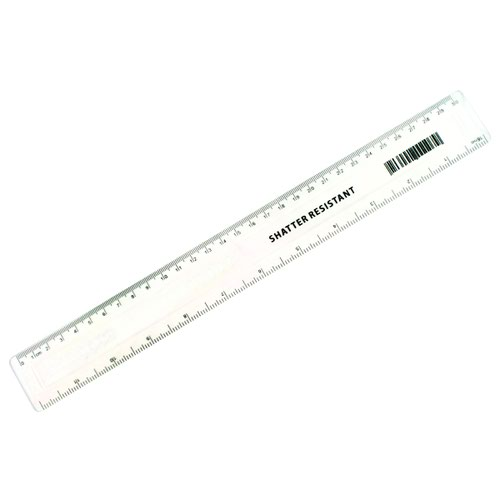 Value Plastic Shatter Resistant Ruler 300mm Clear
