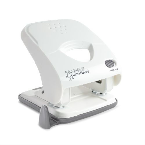 Rapesco Germ-Savvy X5-40ps Less Effort 2 Hole Punch White 1526