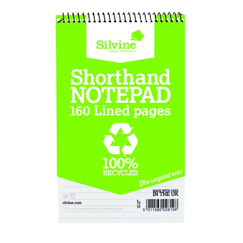 Silvine Recycled Shorthand Notebook 200x127mm 160pages RE160-T