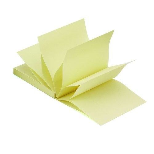 Value Repositionable Fanfold Notes 75x75mm Yellow